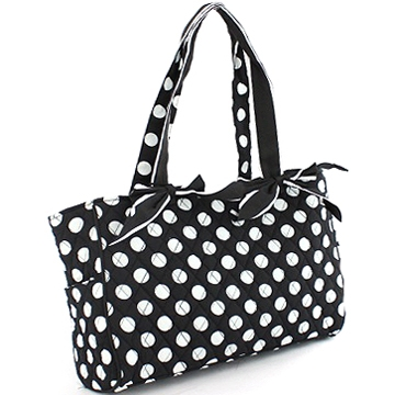 Dasein Quilted Polka Dot Diaper Bag with Bow Accents-Black/White