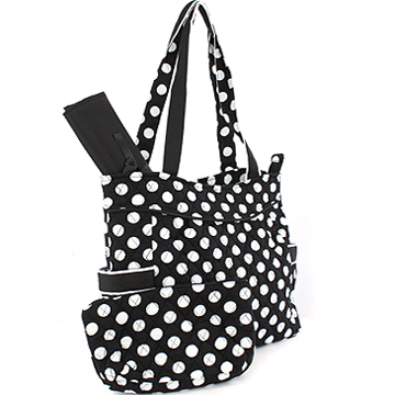Fashlets Generic Quilted White Polka Dot 3-Piece Tote