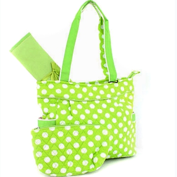 Dasein Quilted 3pc Diaper Tote Bag with 2 Side Pockets-Green/White