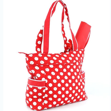 Dasein Quilted 3pc Diaper Tote Bag with 2 Side Pockets-Red/White