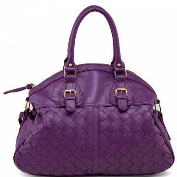 Large Fashion Satchel w/ Weave Accents