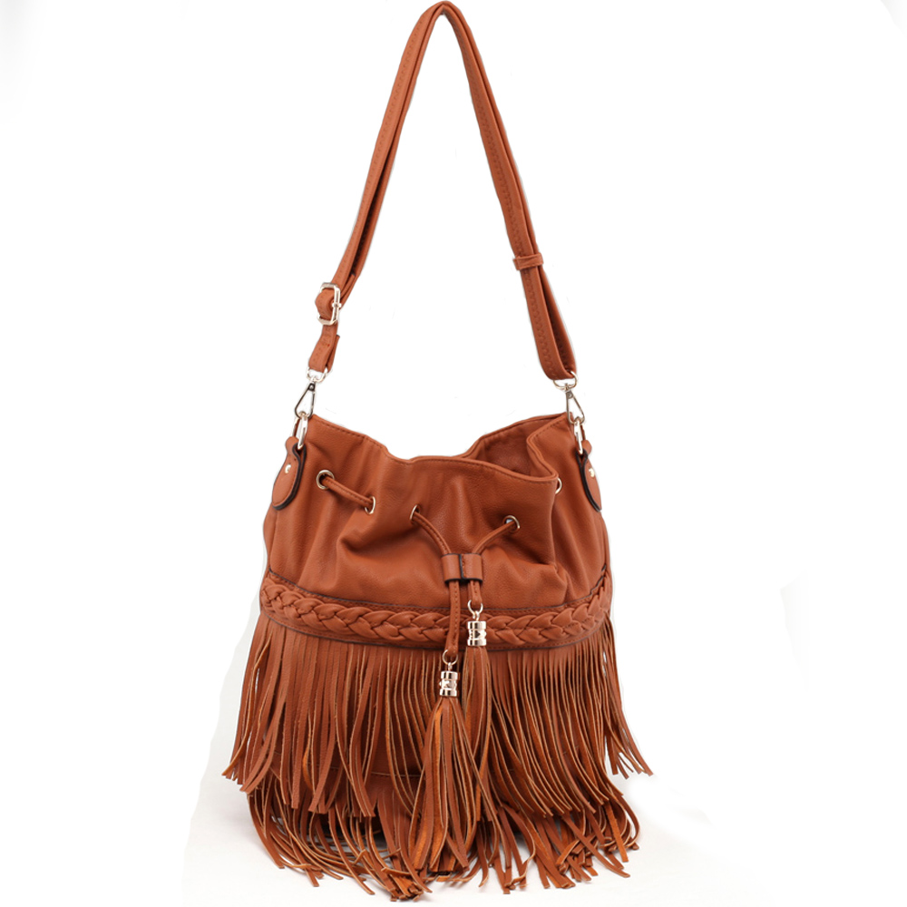 Fringe Galor Messenger Bag w/ Braided Trim and Drawstring Accents