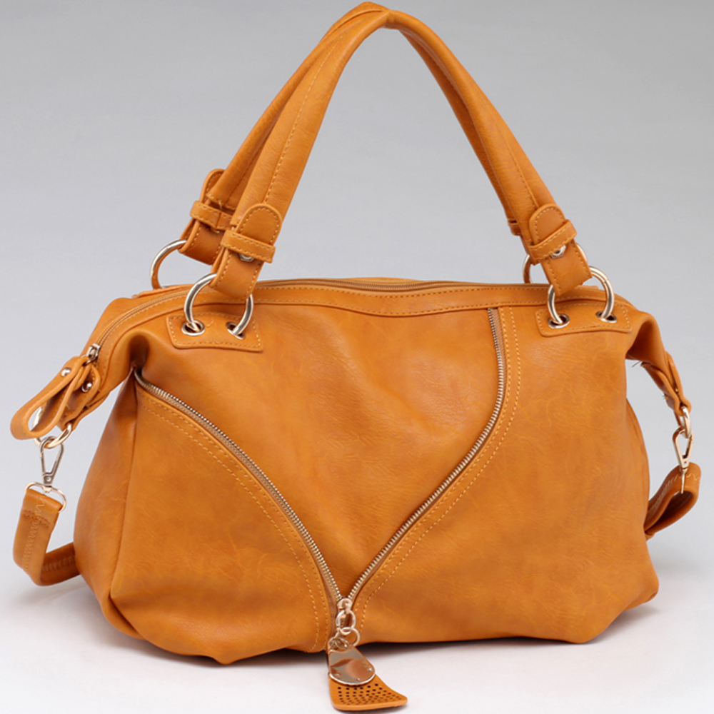 Asymmetric Zip Lined Fashion Tote