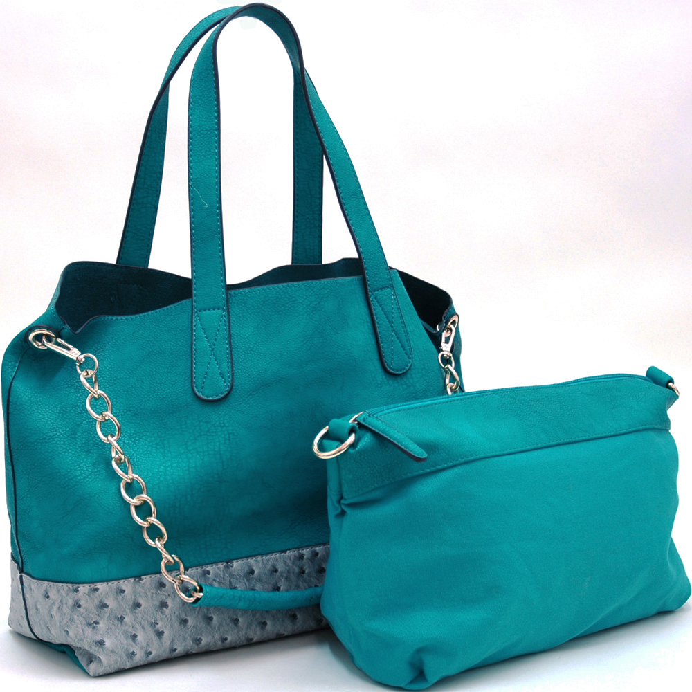 Alyssa® Ostrich Bottom 2-in-1 Tote