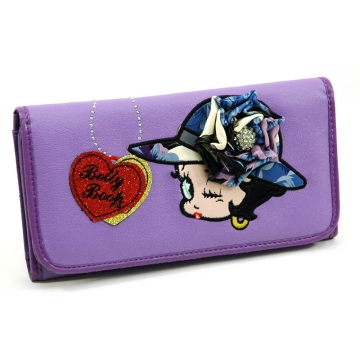 Betty Boop Checkbook Wallet with Rhinestone Brooch Accent-Lavender