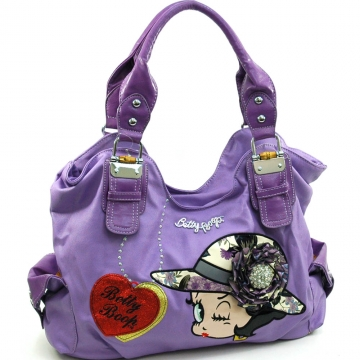 Large Betty Boop® Shoulder Bag with Rhinestone Brooch Accent-Lavender