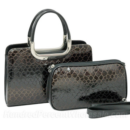 Patent Leatherette Snake Skin Embossed 2-in-1 Satchel Bag