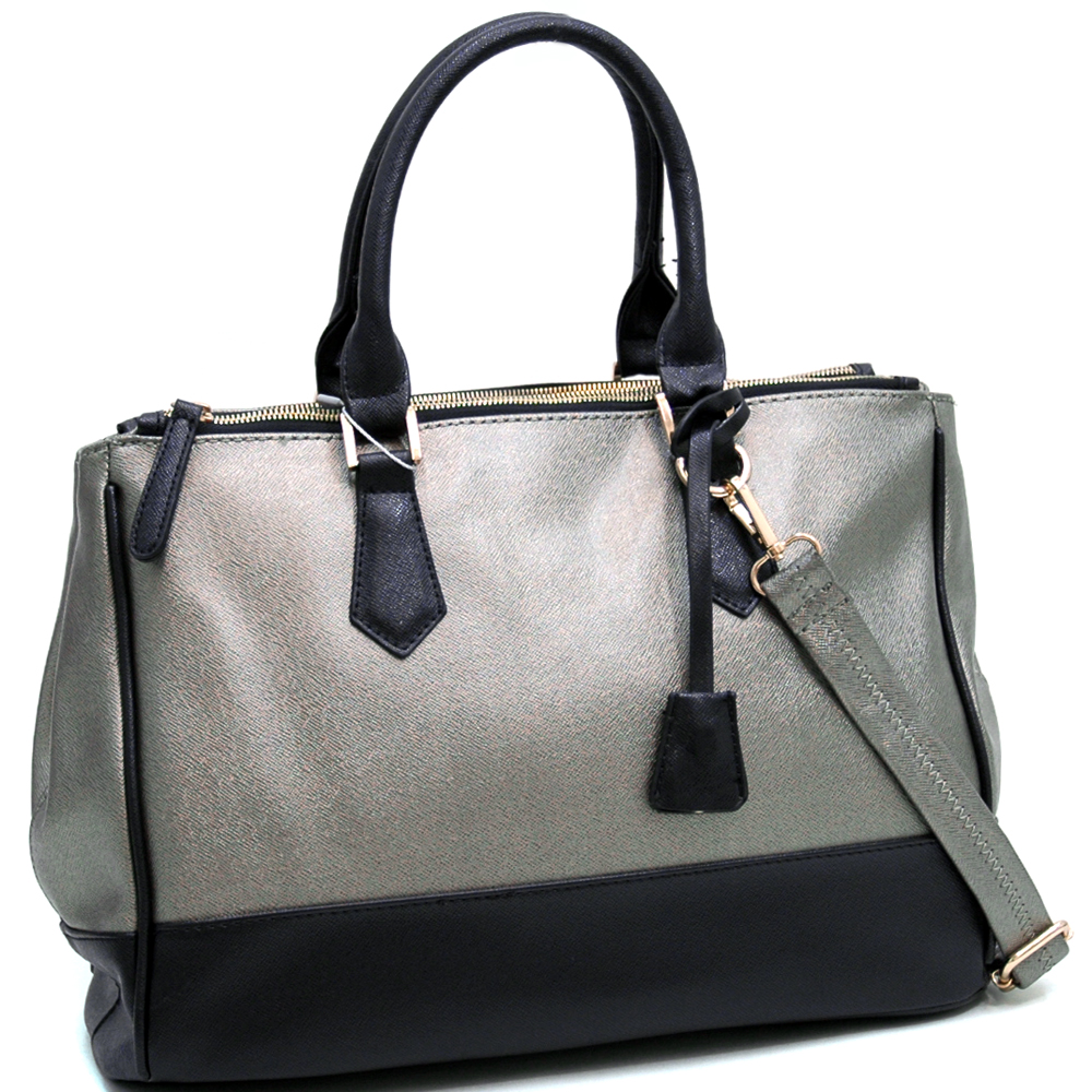 Two Toned Fashion Tote w/ Three Main Compartments