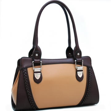 Dasein Classic Two-Toned Shoulder Bag with Braided Accents