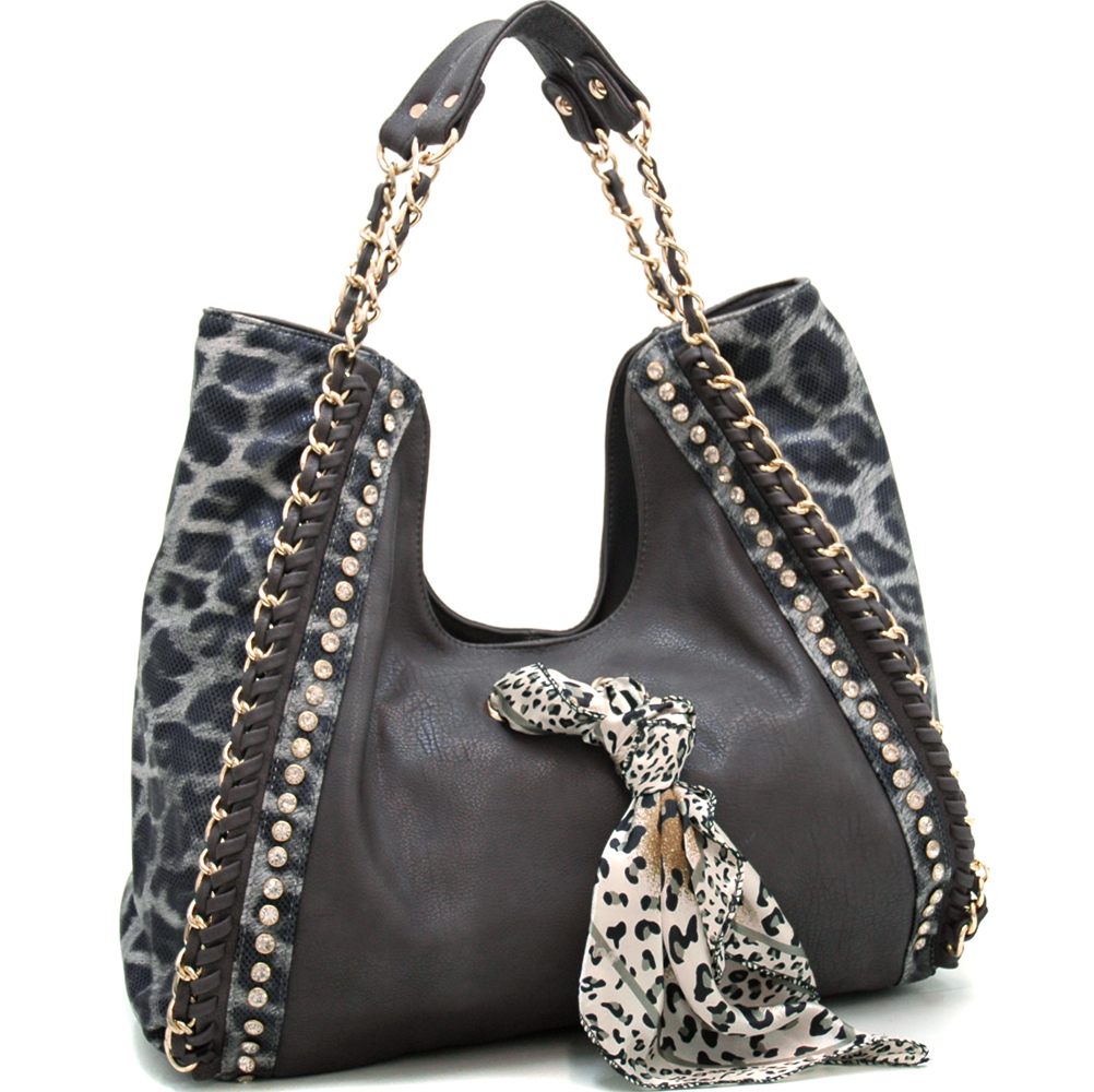 Rhinestone Studded Leopard Hobo  Gold Chain Accents & Scarf Decor