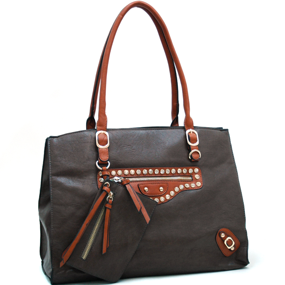 Two Tone Chic Fashion Tote with Rhinestone Accents & Coin Pouch