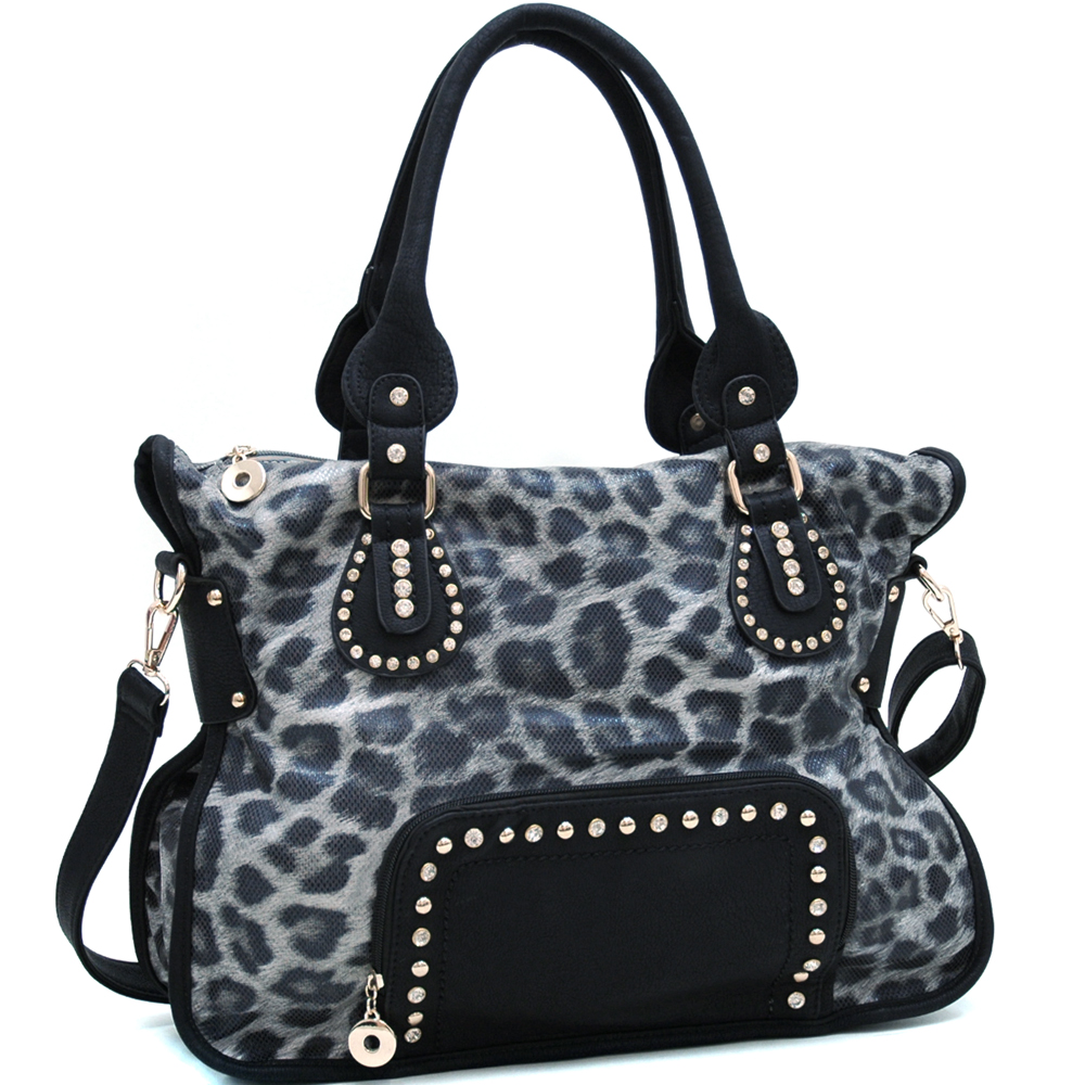 Leopard Chic Carrying Tote with Rhinestone Stud Accents - Black