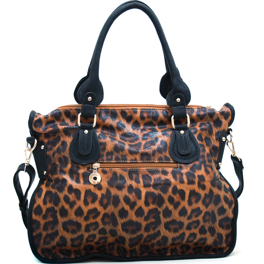 Leopard Chic Carrying Tote with Rhinestone Stud Accents - Tan