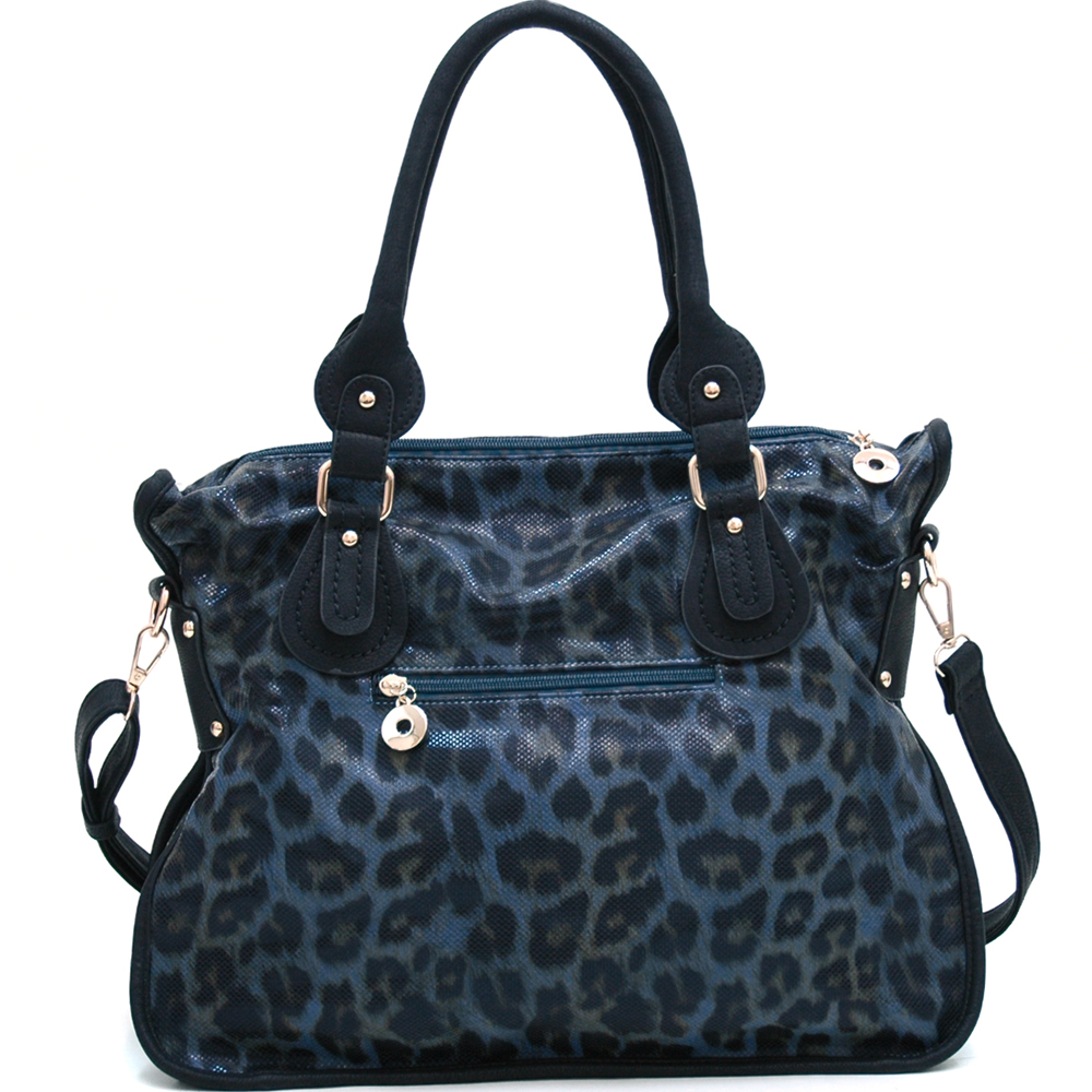 Leopard Chic Carrying Tote with Rhinestone Stud Accents - Navy