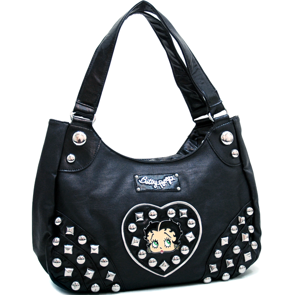 Classic Betty Boop® Shoulder Bag with Heart & Chunky Stud Accents - Black