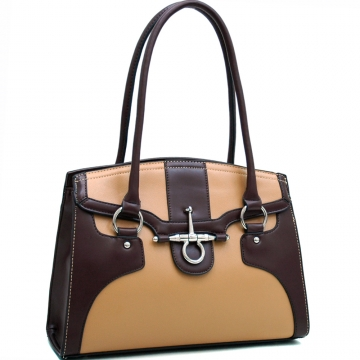 Dasein Two Tone Chic Shoulder Bag with Anchor-like Decor