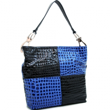 Dasein Block Color Chic Patent Croco Hobo