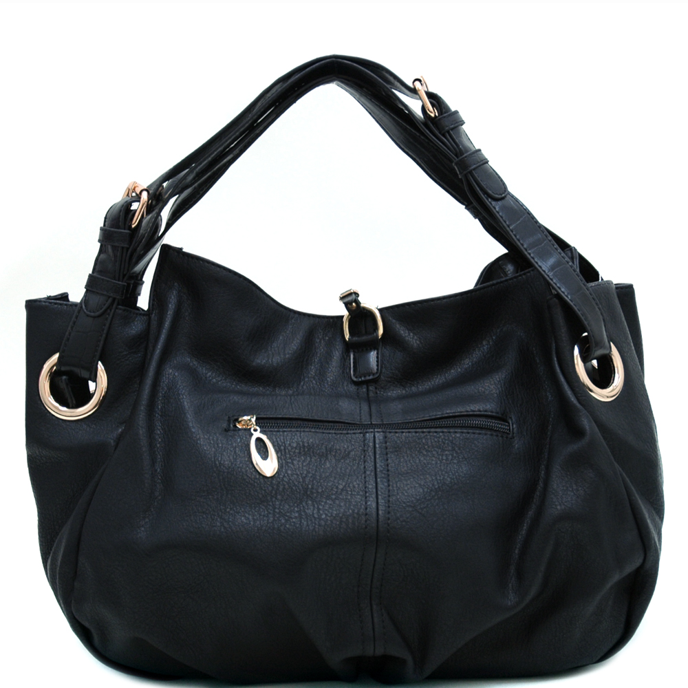 Classic Chic Croco Trim Hobo with Tassel Accent & Double Belted Straps