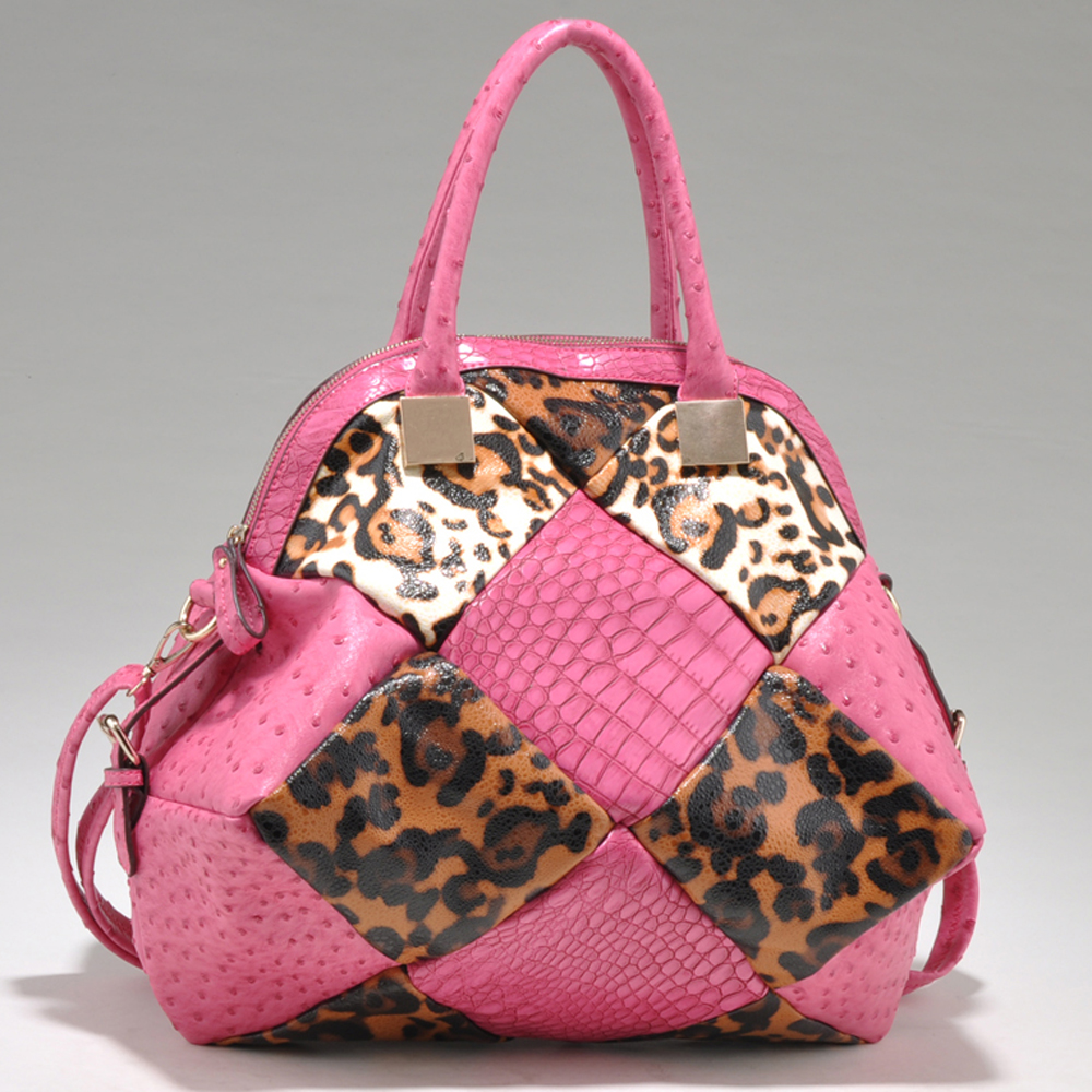 Fashion Multi-Faux Animal Skin Satchel with Expandable Bottom