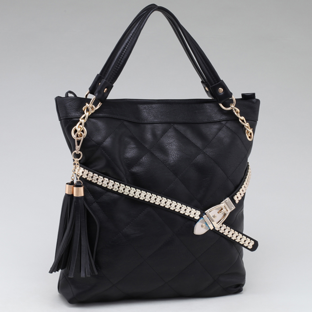 Fab Belted Carrying Tote with Quilted Front & Tassel Accent - Black