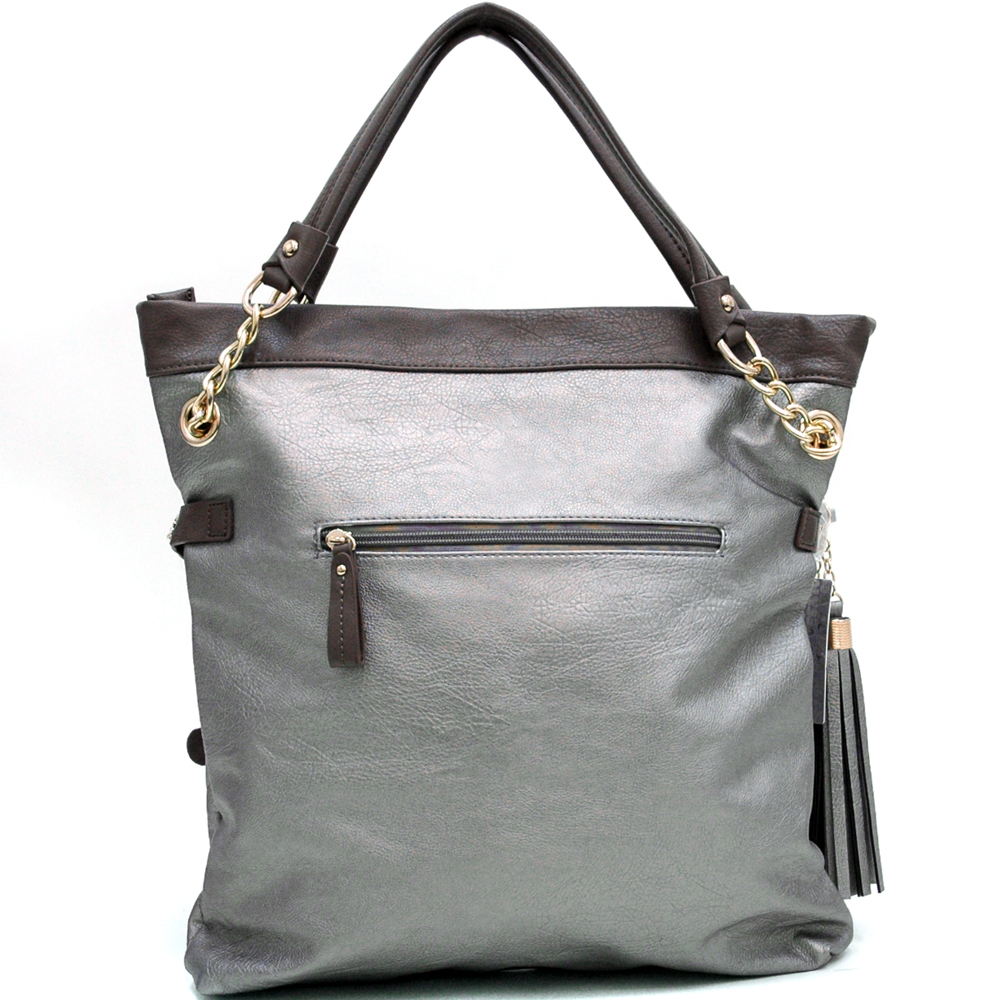 Fab Belted Carrying Tote with Quilted Front & Tassel Accent - Silver