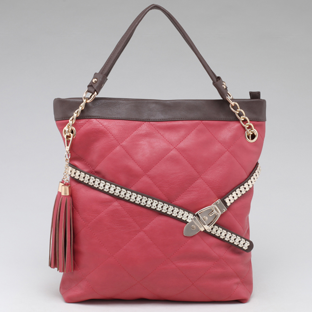 Fab Belted Carrying Tote with Quilted Front & Tassel Accent - Pink