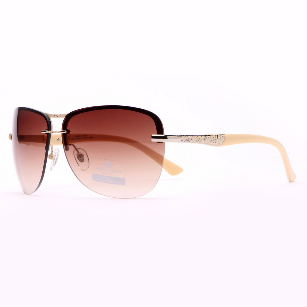 Fab Rimless Sunglasses w/ Mini Rhinestones & Gold Accents