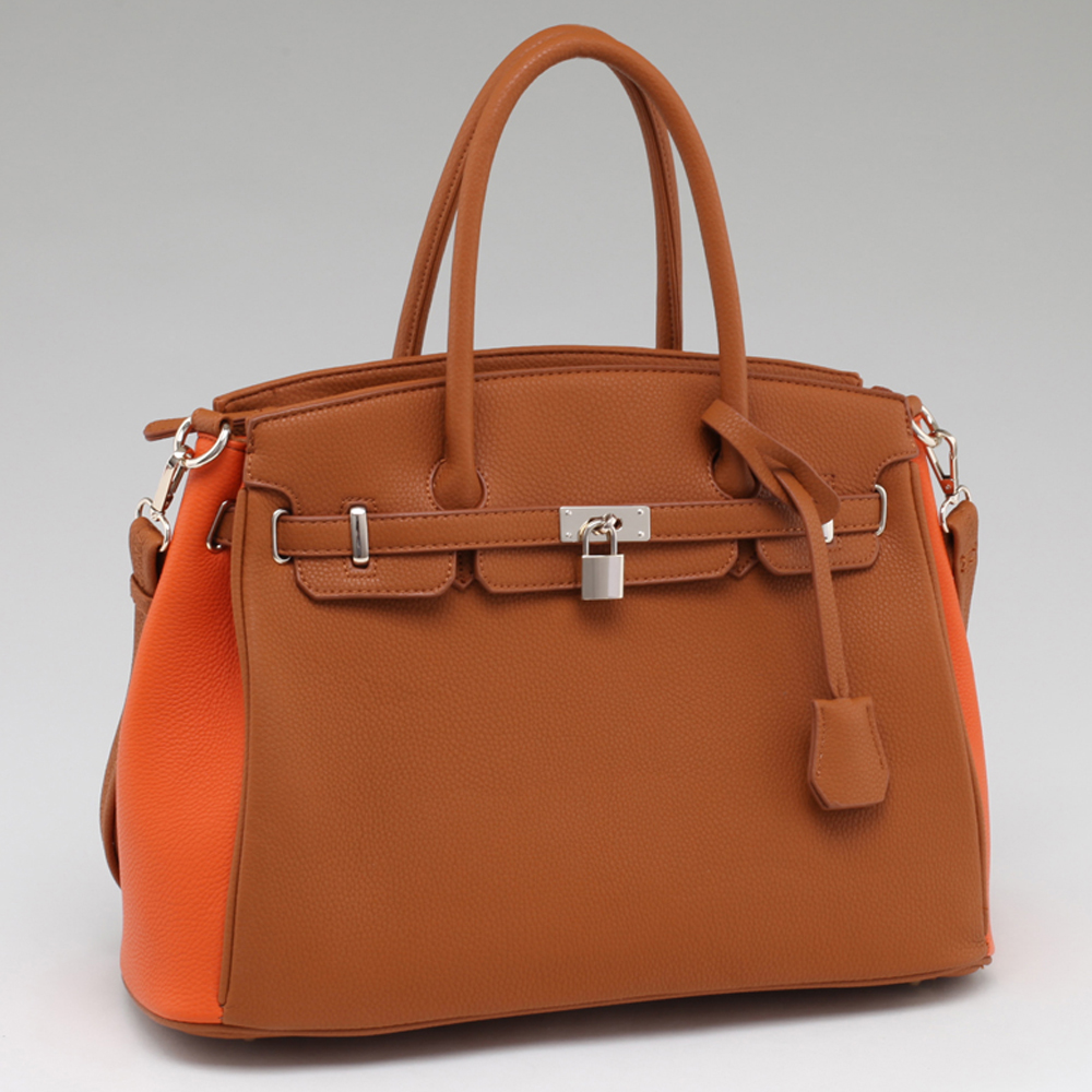 Alyssa Belted Two Tone Satchel With  Key and Lock Accents