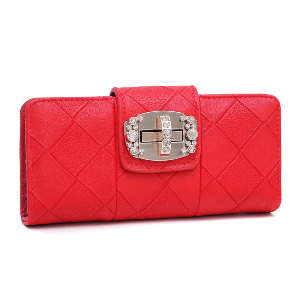Checkered Style Bi-fold Wallet with Rhinestone Adorned Twist-lock Closure - Red