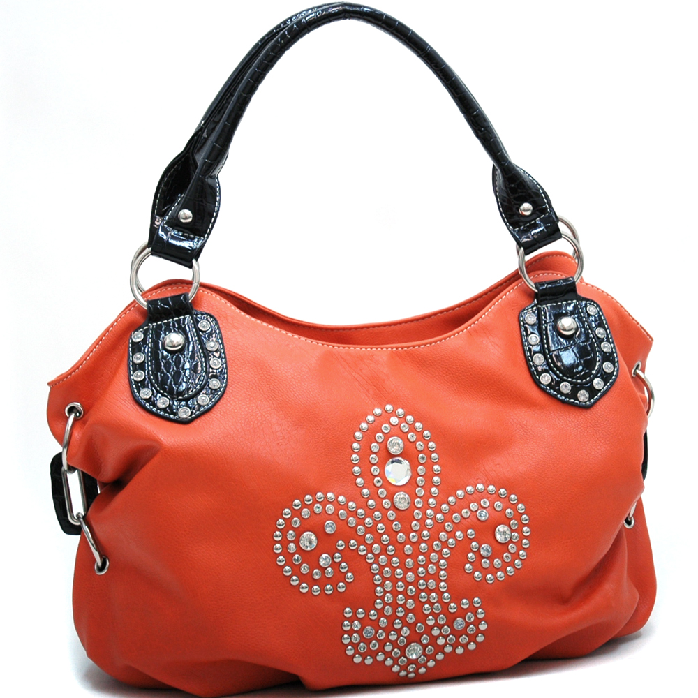 Croco Trim Fashion Hobo Bag with Rhinestone Studded Fleur de Lis Design - Orange