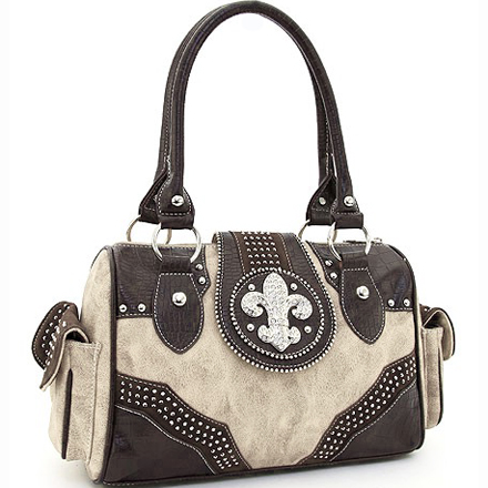 Rhinestone Adorned Shoulder Bag  Fleur de Lis Accent & Croco