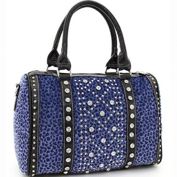 Ustyle Rhinestone Studded Leopard Satchel with Bonus Shoulder Strap