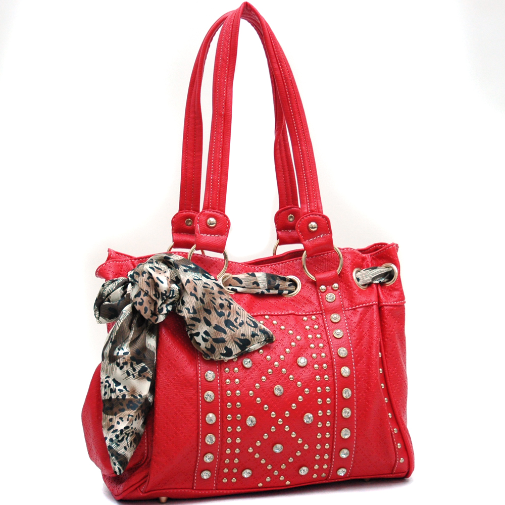 U Style® Safari Scarf Studded Shoulder Bag