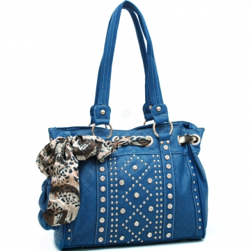 Ustyle Safari Scarf Looped Rhinestone Studded Shoulder Bag-Blue
