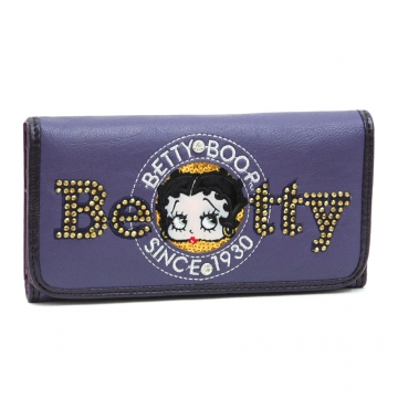 Betty Boop® Checkbook Wallet with Sequins & Rhinestones-Purple