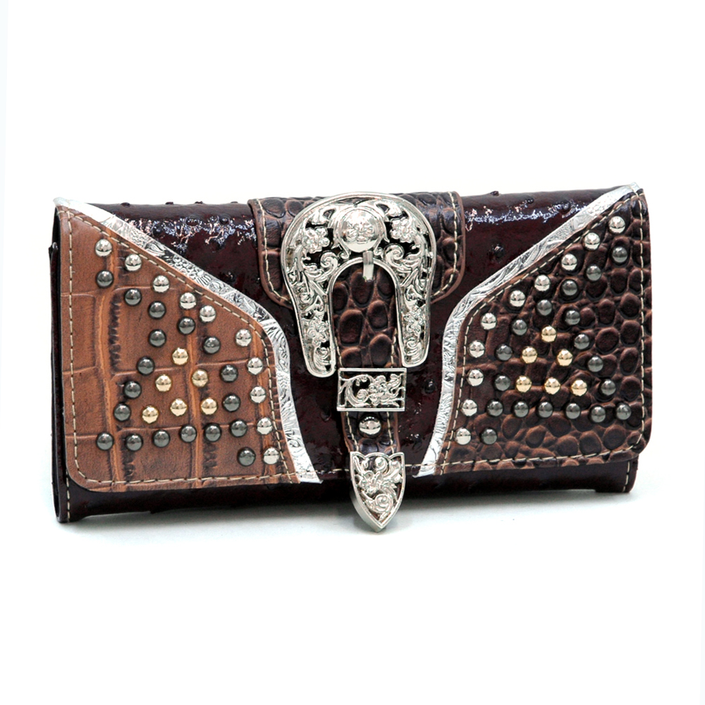 Ostrich & Croco Trifold Wallet w/ Buckle & Round Stud Accents