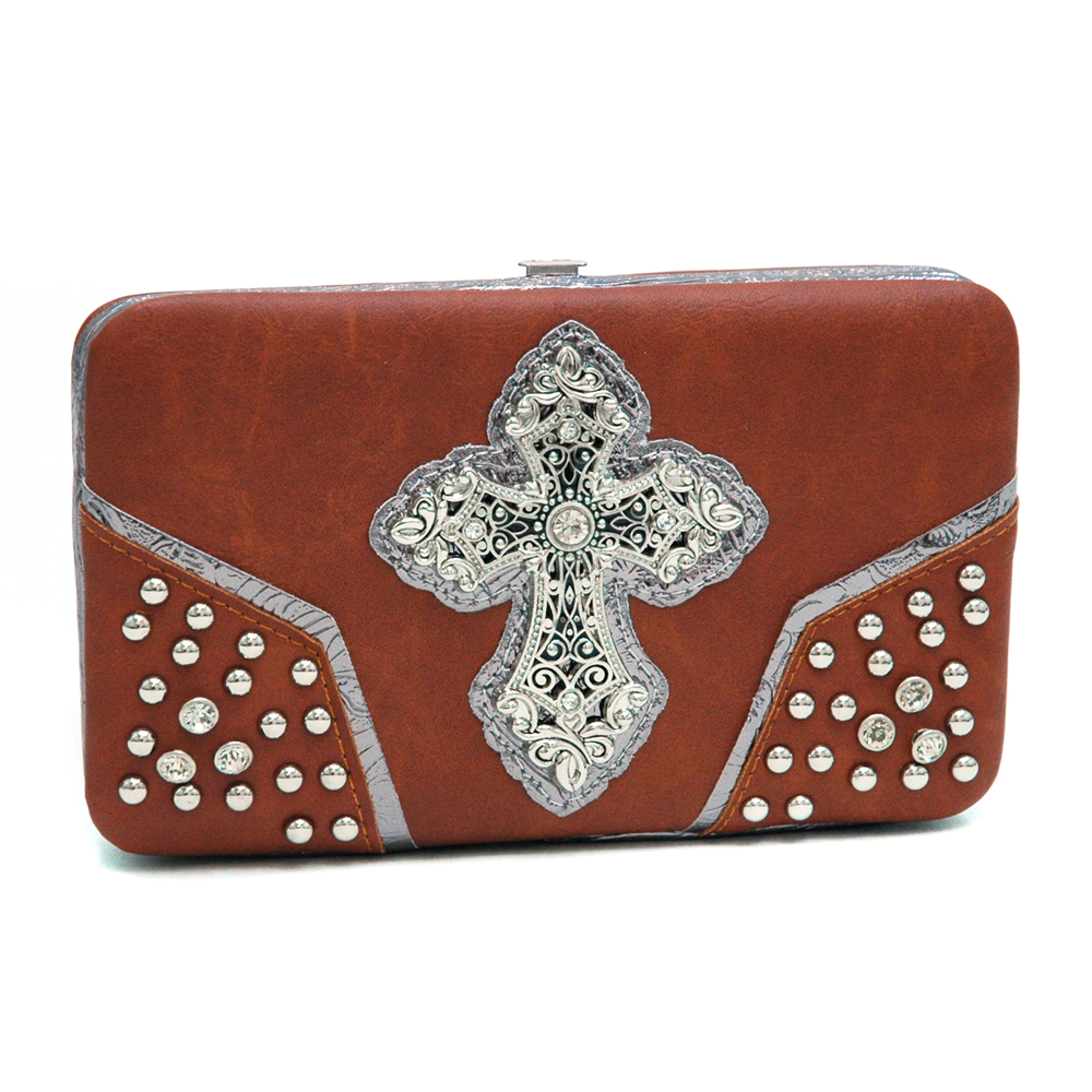 Western Gospel Sharp Rhinestone Cross Wallet