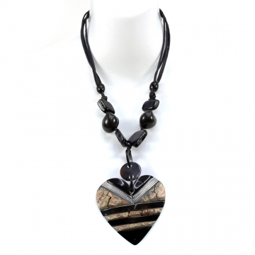 Nature at Heart Inspired Island Necklace w/ Iridescent & Rock Texture