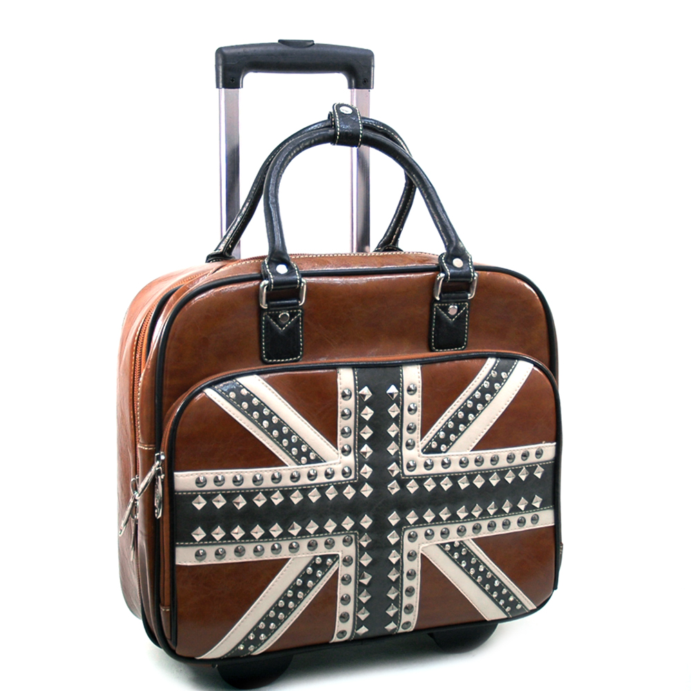 British Rocker Studded Weekender Luggage w/ Wheels & Extendable Handle