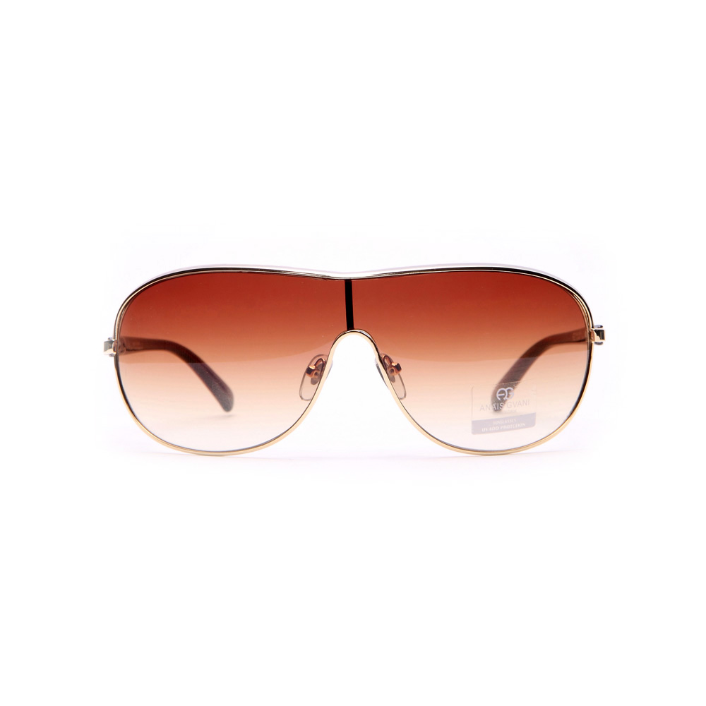 Shield Frame Fashion Sunglasses w/ Transparent Accented Sides