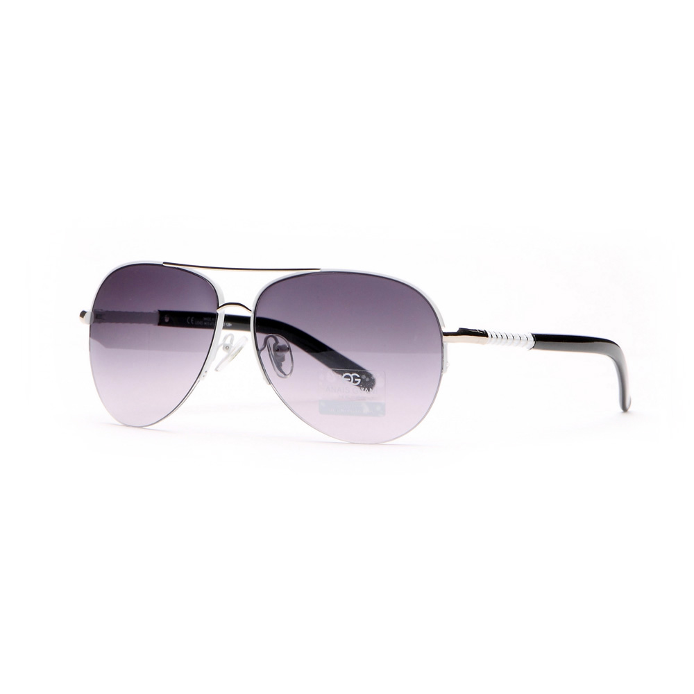 Sleek Fashion Aviator Sunglasses w/ Ribbed Side Accents