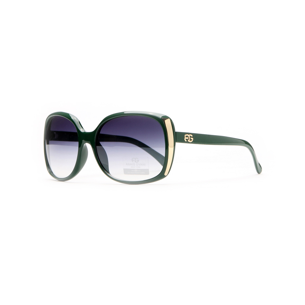 omen's Classic Square Frame Sunglasses / Bold Gold Accent - Black