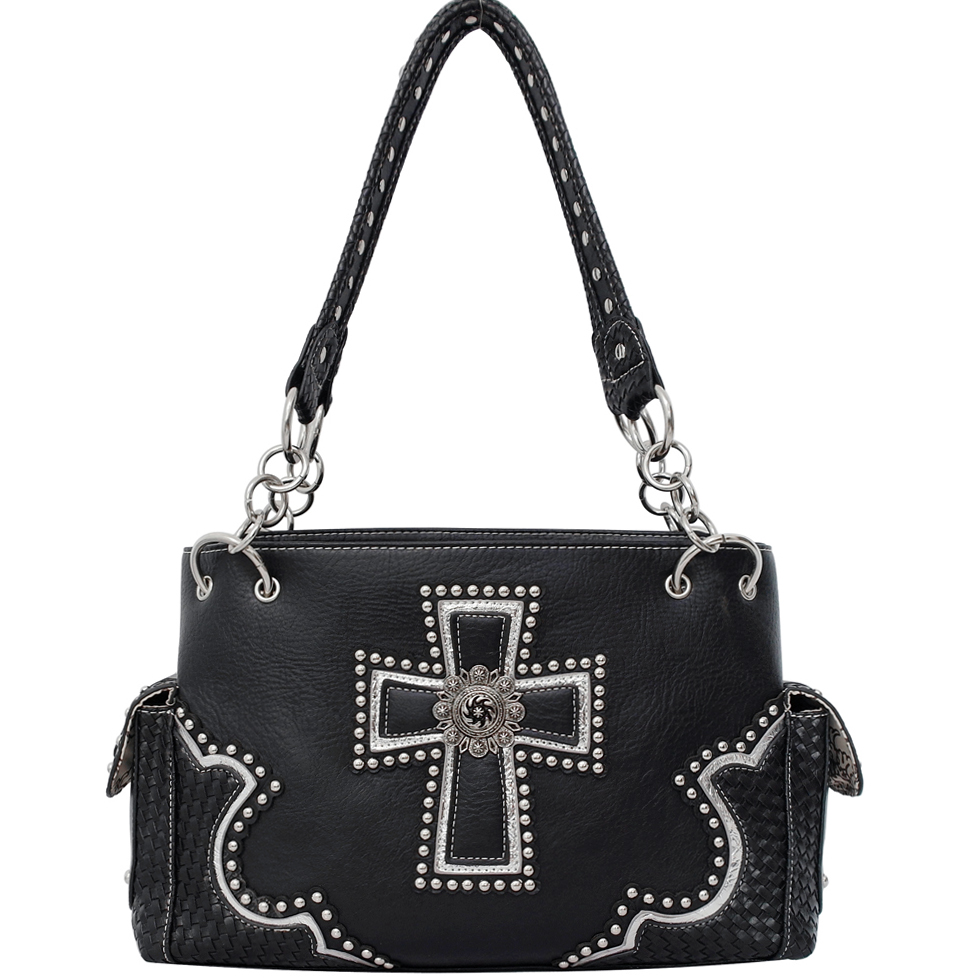 Rhinestone Studded Western Cross Sign Shoulder Bag with Woven Trim-Black