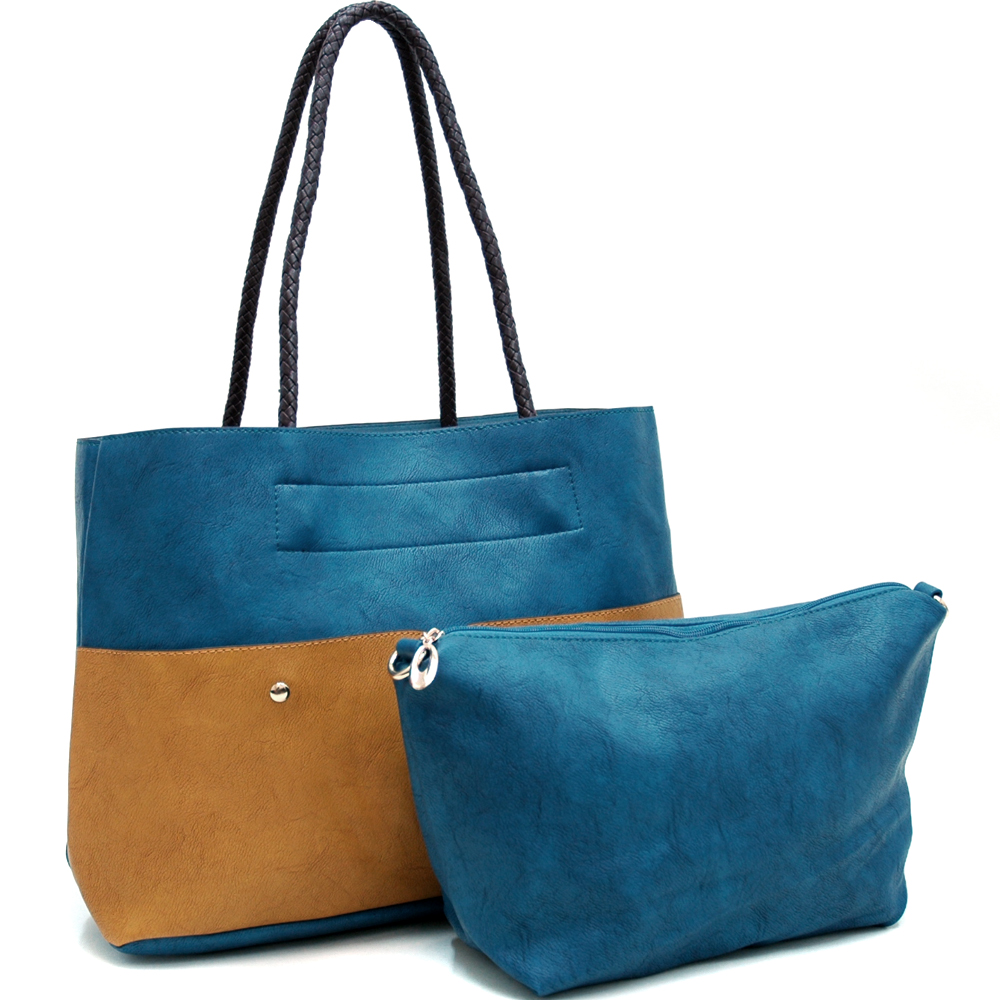 Alyssa 2-in-1 Two Tone Tote With Front Pouch Pockets