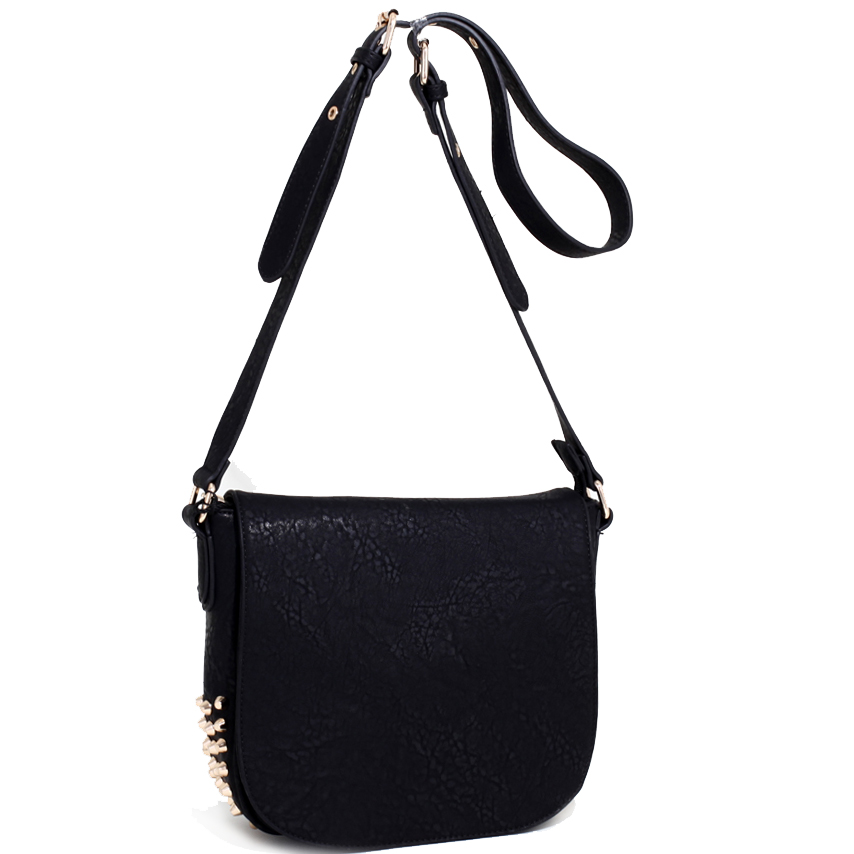 Emperia Edgy Chic Studded Messenger Bag with Adjustable Strap