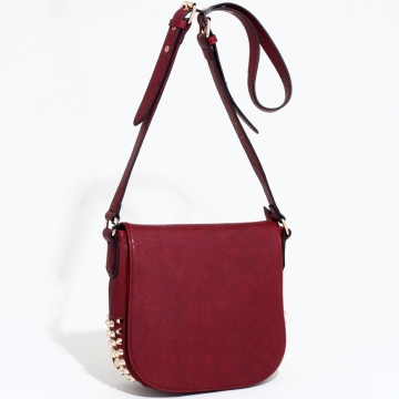 Emperia Edgy Chic Studded Messenger Bag with Adjustable Strap-Red