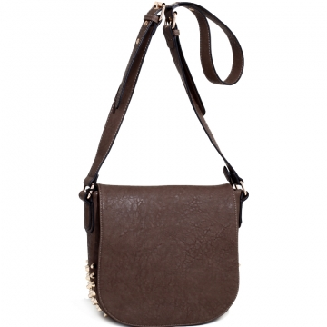 Emperia Edgy Chic Studded Messenger Bag with Adjustable Strap-Taupe