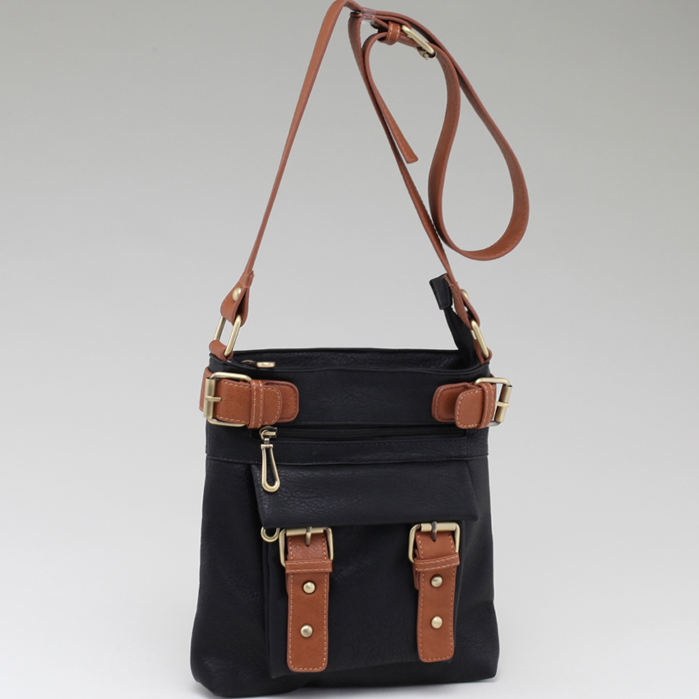 Two-tone Belted Messenger Bag with Compartments Galore-Black/Brown