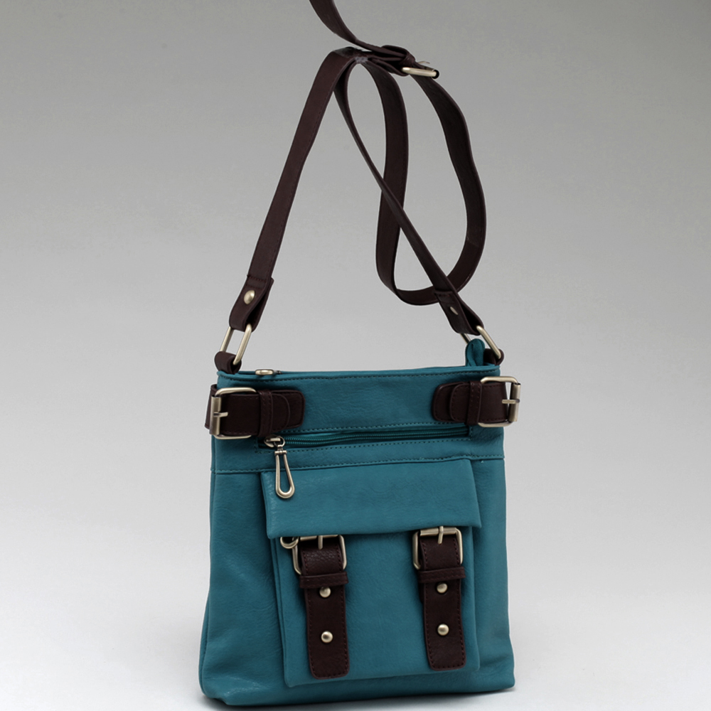 Two-tone Belted Messenger Bag with Compartments Galore-Dark Turquoise/Coffee