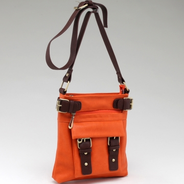 Two-tone Belted Messenger Bag with Compartments Galore-Orange/Coffee